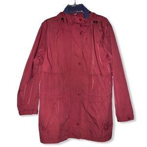 Women's L.L. Bean red utility hooded rain jacket M